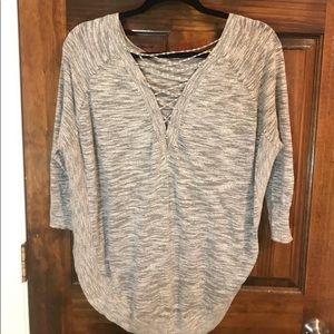 Express Gray Marble Lace Up Sweater